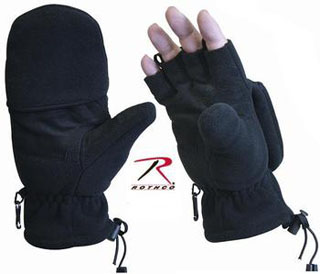 Rothco 4395 Black Fleece Sniper Fingerless Gloves/Mittens