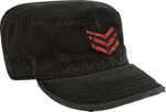 Rothco 4552 Vintage Black With Red Stripes Military Printed Fatigue Cap