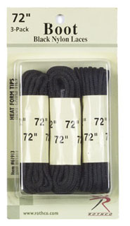 "Rothco 61913 61913 Rothco Boot Laces - Black / 72"" - 3 Pack"