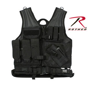 Rothco 6491 Black Cross Draw Tactical Vest
