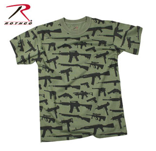 f6270b6e42cb0 Rothco   66360   T-Shirt - Multi Print ''guns'' - Olive Drab  Rothco ...