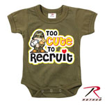 Rothco 67150 Infant Olive Drab ''too Cute To Recruit'' One-Piece Bodysuit