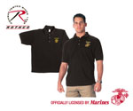 Rothco 7696 7696 Black Military Embroidered Golf Shirts