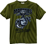 Rothco 80215 80215 Black Ink 1-Sided - Olive Drab ''marines'' G & A ''first To Fight'' T-Shirt