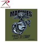 Rothco 80216 80216 80215 Black Ink 1-Sided - Olive Drab ''marines'' G & A ''first To Fight'' T-Shirt