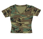 Rothco 8066 Women's Woodland Camo S/S V-Neck T-Shirt