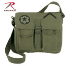 Rothco 8277 Rothco Canvas 2-Pkt Shoulder Bag - Olive Drab With Embroidered Military Patches
