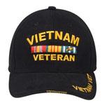 Rothco 9321 Deluxe Blk Low Profile Vietnam Vet Insignia Cap