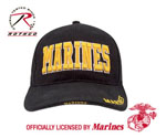 Rothco 9437 Deluxe Black Low Profile Cap - W/gold Marines