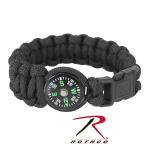 Rothco 957 Rothco Paracord / Compass Bracelet - Black