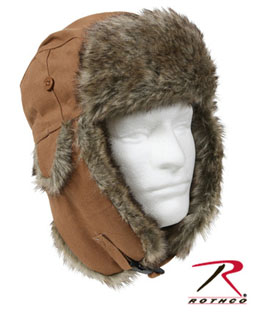 Rothco 9874 Fur Flyer's Hat - Canvas - Tan