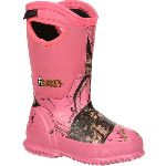 RS  RKYS122 Rocky Core Big Kid's Pink Camo Waterproof 400g Insulated Rubber Boot