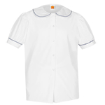 Girl's Puffed Short Sleeve Broadcloth Blouse
