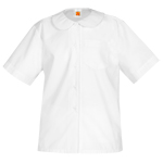 Peter Pan Collar Broadcloth Shorts Sleeve Blouse With Pocket