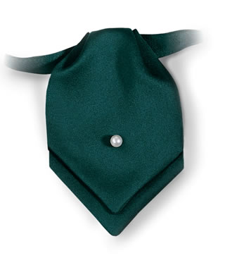Samuel Broome 86160 Polyester Satin Pointed Mini Ascot with Pearl Pin