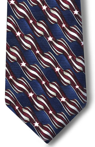 Samuel Broome P2497A USPS Stars & Stripes Necktie with Buttonholes