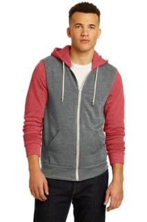 SanMar Alternative Apparel AA32023, Alternative Colorblock Rocky Eco-Fleece Zip Hoodie.