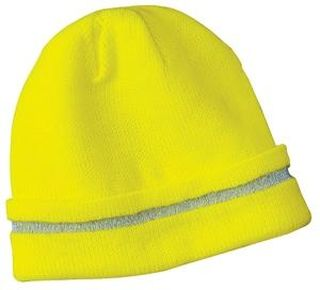 SanMar CornerStone CS800, CornerStone® - Enhanced Visibility Beanie with Reflective Stripe.