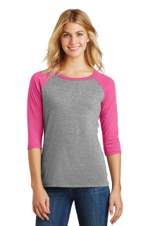 SanMar District DM136L, District® Womens Perfect Tri® 3/4-Sleeve Raglan.