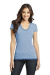 SanMar District DT2202, District - Juniors Faded Rounded Deep V-Neck Tee.