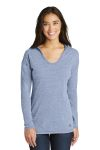 SanMar New Era LNEA131, New Era ® Ladies Tri-Blend Performance Pullover Hoodie Tee.