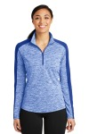 SanMar Sport-Tek LST397, Sport-Tek® Ladies PosiCharge® Electric Heather Colorblock 1/4-Zip Pullover.