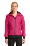 SanMar Sport-Tek LST53, Sport-Tek® Ladies Embossed Hooded Wind Jacket.