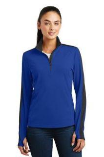 SanMar Sport-Tek LST861, Sport-Tek® Ladies Sport-Wick® Textured Colorblock 1/4-Zip Pullover.