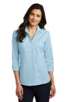 SanMar Port Authority LW643, Port Authority® Ladies 3/4-Sleeve Micro Tattersall Easy Care Shirt.