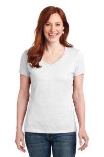 SanMar Hanes S04V, Hanes® Ladies Nano-T® Cotton V-Neck T-Shirt.