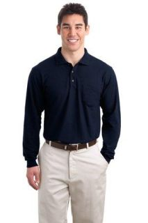 SanMar Port Authority TLK500LSP, Port Authority® Tall Silk Touch Long Sleeve Polo with Pocket.