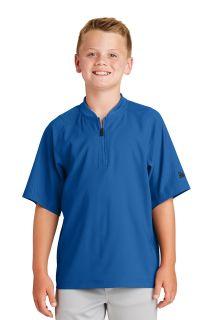 SanMar New Era YNEA600, New Era ® Youth Cage Short Sleeve 1/4-Zip Jacket.