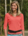 Tri-Mountain 131 Mystique-Women's Cotton Interlock 3/4 Sleeve V-Neck Knit.