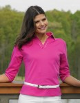 Tri-Mountain 133 Allure-Women's Cotton Jersey 3/4 Sleeve Johnny Collar Knit.
