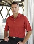 Tri-Mountain 404 Woodside-Men's 100% Polyester Knit Polo Shirt, Raglan Sleeve w/ Grid Pattern.