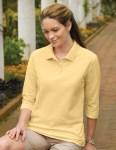 Tri-Mountain 601 Aurora-Women's 60/40 Pique 3/4 Sleeve Golf Shirt.