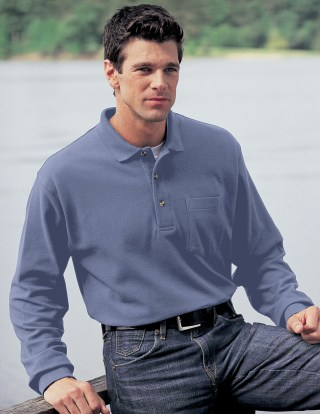 Tri-Mountain 609 Spartan-Men's 60/40 Pique Long Sleeve Pocketed Golf Shirt.