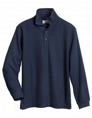 Tri-Mountain 615 Enterprise-Men's 60/40 Long Sleeve Easy Care Knit Shirt With Snap Closure. Ideal Cook Shirt.