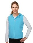 Tri-Mountain 7023 Luna-Womens 100% Polyester Fleece Fully Placket Sleeveless Hooded Jacket.