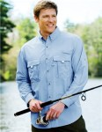 Tri-Mountain 705 Marlin-Men Nylon Long Sleeve Shirt With Upf Protection And Ventilated Back.