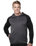 Tri-Mountain 7389 Raven-Men's 100%poly Fleece Long Sleeve Ultra Cool Jacket With Hood.