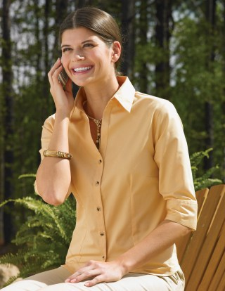 Tri-Mountain 763 Affinity-Women's 60/40 Stain Resistant Open Neck 3/4 Sleeve Shirt.