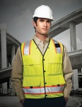 Tri-Mountain 8435 Level-Men's 100% Polyester Water Resistant Heavy Twill Safety Vest.