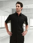 Tri-Mountain 926 Gt-3-Men's Cotton/Poly 60/40 Tmr Ss Woven Shirt, w/ Knitted Side Panel