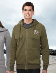 Tri-Mountain F688 Hilo - Men's 60% Cotton/40% Polyester Full Zip Knit Hooded Jacket