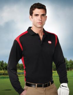 Tri-Mountain K145LS Blitz Long Sleeve-Men's 100% Polyester L/S Knit Shirt w/Rib Cuff, 3 Button Placket