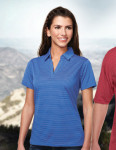 Tri-Mountain KL126 Lady Elgin-Women's 100% Polyester Y.D. Stripe Johnny Collar Knit Shirt w/Side Vents.
