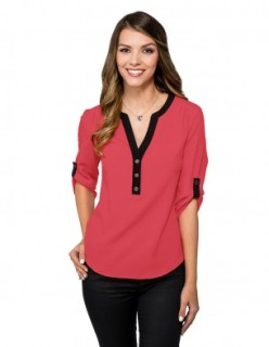 Tri-Mountain LB758 Amelia-Women's 96% Polyester 4% Spandex 3/4 Sleeve Woven Tunic With Y-Neck,
