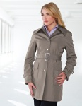 Tri-Mountain LB9013 Sasha-Women's 100% Polyester Hooded Trench Coat.