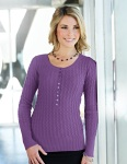 Tri-Mountain LB922 Audrey-Women's 100% Cotton Long Sleeves Henley Cable Sweater.